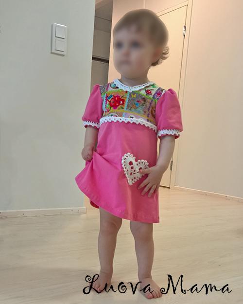 Luova Maman kesämallisto pienelle tytölle koko 86 cm – lyhythihainen mekko  – Luova Mama 06068dc8b0